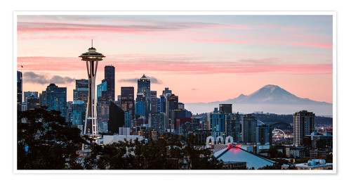 Premium poster Seattle panoramic with Mount Rainier, USA