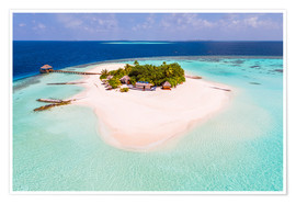 Premium poster  Drone view of paradise island, Maldives - Matteo Colombo
