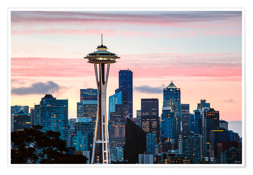 Premium poster Space Needle and Seattle skyline, USA