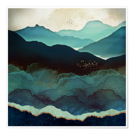 Poster  Indigo Mountains - SpaceFrog Designs