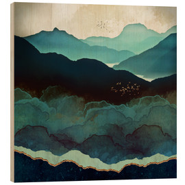 Wood print  Indigo Mountains - SpaceFrog Designs