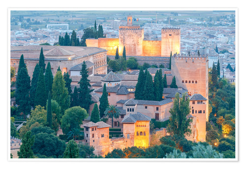 Premium poster Alhambra fortress at sunset