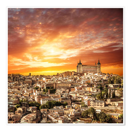 Premium poster Toledo over sunset