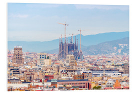 Foam board print  Barcelona with the Cathedral of Gaudí