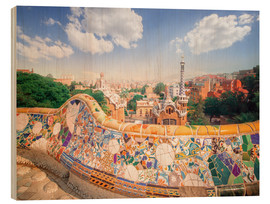 Wood print  The Park Guell in Barcelona