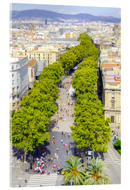 Acrylic print  Barcelona and Las Ramblas with the Columbus Column
