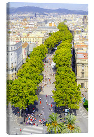 Canvas print  Barcelona and Las Ramblas with the Columbus Column