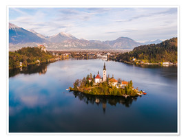 Premium poster Lake Bled and island in autumn, Slovenia