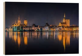 Wood print  Skyline of Stralsund at night - Kristian Goretzki