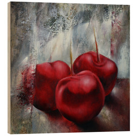 Wood print  cherries - Annette Schmucker