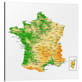 Aluminium print  Map of France