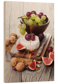 Wood print  Camembert cheese with figs, nuts and grapes