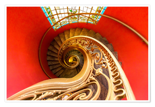 Premium poster Spiral staircase in Brittany