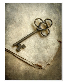Premium poster Still life with old ornamented key