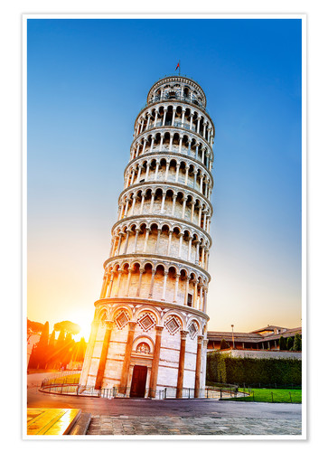 Premium poster The leaning tower at dusk