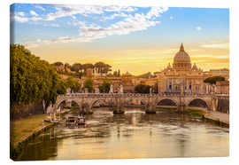 Canvas print  Saint Peter Basilica with Sant'Angelo Bridge