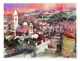 Premium poster  Jerusalem, Old Town with Church of the Redeemer - Johann Pickl