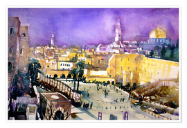 Premium poster  Jerusalem, Dome of the Rock with Wailing Wall - Johann Pickl