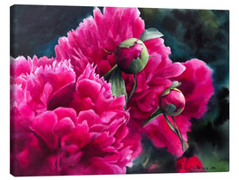 Canvas  Watercolor pink peonies - Maria Mishkareva