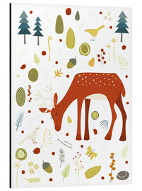 Aluminium print  Pretty deer in the autumn forest - Nic Squirrell