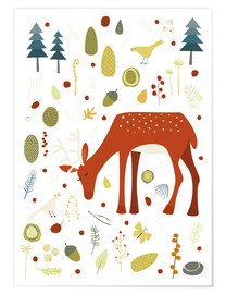 Poster  Pretty deer in the autumn forest - Nic Squirrell