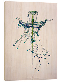 Wood print  Blue water drops fountain - Stephan Geist