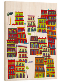 Wood print  Colorful houses in Havana, Cuba - Nic Squirrell