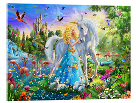 Acrylic print  The Princess, the unicorn and the castle - Adrian Chesterman