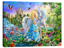 Canvas print  The Princess, the unicorn and the castle - Adrian Chesterman