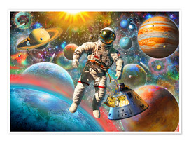 Premium poster  Astronaut Floating in Space - Adrian Chesterman