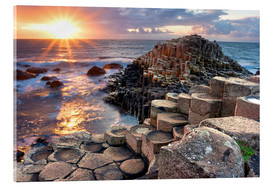 Acrylic print  Sunset at Giant's Causeway