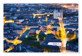 Premium poster Aerial view of Nantes at a summer night