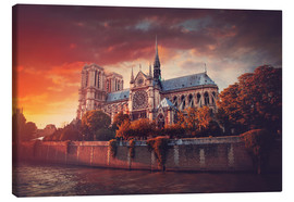 Canvas print  Sunset at Notre Dame in Paris