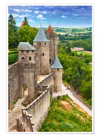 Premium poster  Fortress Carcassonne in France, Languedoc
