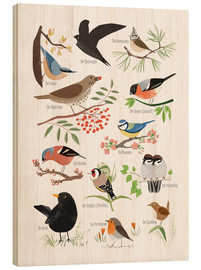 Wood print  Garden birds (German) - Sandy Lohß