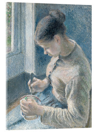 Acrylic print  Peasant girl drinking her coffee - Camille Pissarro
