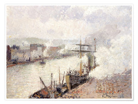 Premium poster  Steamboats in the Port of Rouen - Camille Pissarro