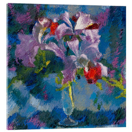 Acrylic print  Orchids on a blue background - Augusto Giacometti