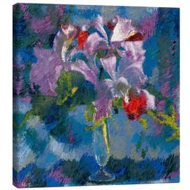 Canvas  Orchids on a blue background - Augusto Giacometti