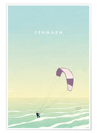 Premium poster  Kitesurfer on Fehmarn illustration - Katinka Reinke