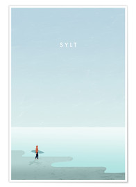 Premium poster Sylt surfer illustration