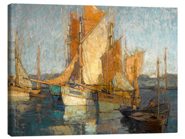 Canvas  Sailboats in harbor - Edgar Alwin Payne