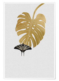 Premium poster Butterfly & Monstera
