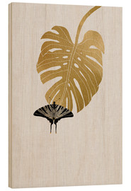 Wood print  Butterfly & Monstera - Orara Studio