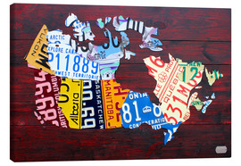 Canvas print  License Plate Map of Canada - Design Turnpike