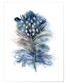 Premium poster  Feather blue - Verbrugge Watercolor
