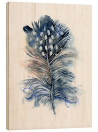 Wood print  Feather blue - Verbrugge Watercolor