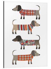 Aluminium print  Sausage Dogs in Sweaters - Nic Squirrell