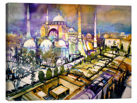 Canvas  Istanbul, view to the Hagia Sophia mosque - Johann Pickl