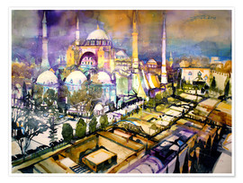 Premium poster  Istanbul, view to the Hagia Sophia mosque - Johann Pickl